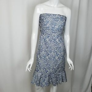 The Limited Blue White Print Strapless Dress